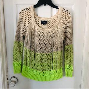 American eagle neon green chunky knit sweater